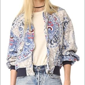 Free People Patterned Bomber Jacket